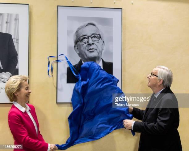 President of the EU Commission Ursula von der Leyen and the former President of the European Union Commission Jean-Claude Juncker unvail his portrait...