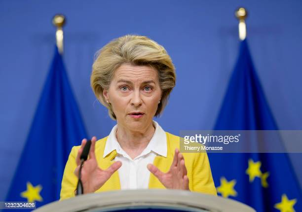 President of the EU Commission Ursula von der Leyen talks to media during a press briefing on Covid-19 vaccination developments, in the Berlaymont,...