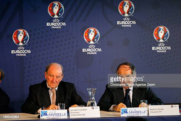 President of the Euro 2016 SAS Jacques Lambert and of the French Football Federation Noel le Graet during the EURO 2016 Steering Committee Meeting on...