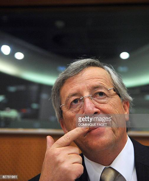 President of the Eurogroup and Luxembourg Prime Minister JeanClaude Juncker gestures during a discussion with European deputies members of the...