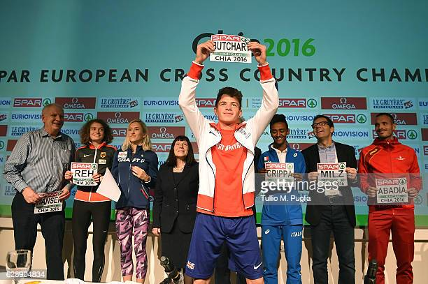 President of the European Athletic Association Svein Arne Hansen Alina Reh of Germany Karoline Bjerkeli Grovdal of Norway Mayor of Domus de Maria...