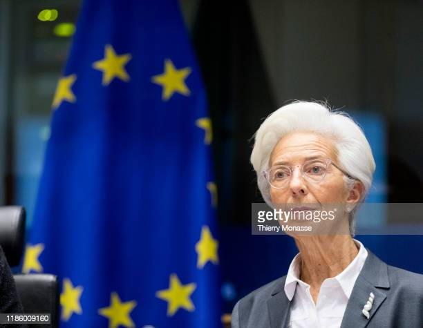 President of the European Central Bank Christine Lagarde addresses the Committee on Economic and Monetary Affairs of the European Parliament building...
