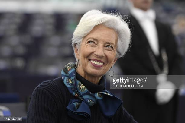 President of the European Central Bank Christine Lagarde attends a debate on the Eurozones economic governance and ECB activities at the European...