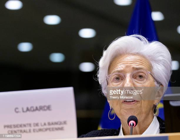 President of the European Central Bank Christine Lagarde attends the economic and monetary affairs committee of the European Parliament on February...