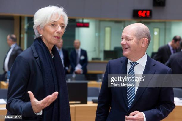 President of the European Central Bank Christine Lagarde is seen talking with the German Federal Minister of Finance Olaf Scholz prior the start of a...