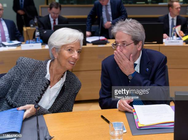 President of the European Central Bank Christine Lagarde is talking with the EU Commissioner for Economy Paolo Gentiloni prior the start of an...