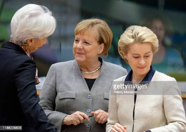 President of the European Central Bank Christine Lagarde is talking with the German Chancellor Angela Merkel and the President of the European...