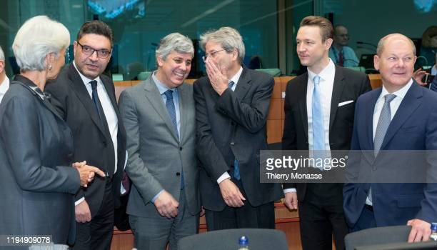 President of the European Central Bank Christine Lagarde is talking with the Cypriot Finance Minister Constantinos Petrides the Portuguese Finance...