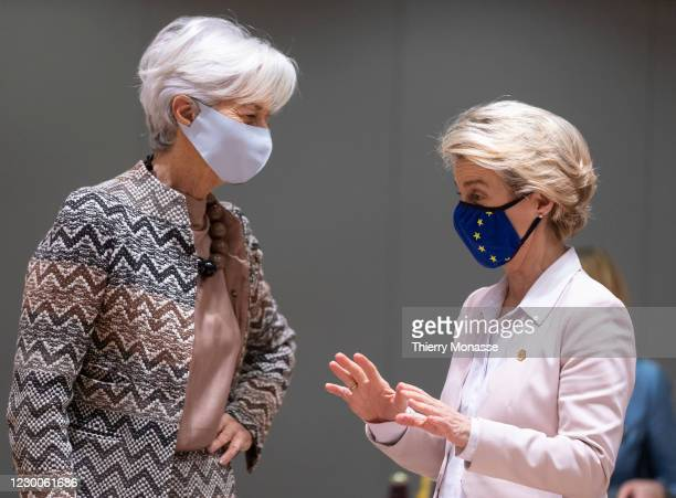 President of the European Central Bank Christine Lagarde is talking with the President of the European Commission Ursula von der Leyen before the...
