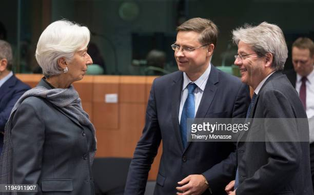 President of the European Central Bank Christine Lagarde talks with the EU Commissioner for An Economy That Works for People - Executive Vice...