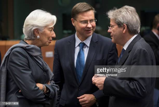 President of the European Central Bank Christine Lagarde talks with the EU Commissioner for An Economy That Works for People Executive Vice President...