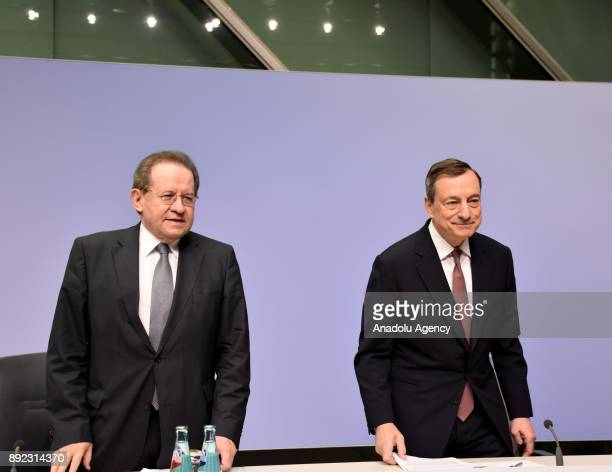 President of the European Central Bank Mario Draghi and Vice President of the European Central Bank Vitor Constancio hold a joint press conference at...