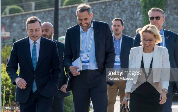 President of the European Central Bank Mario Draghi arrives accompanied by Christine Graeff Director General Communications of ECBto participate in...