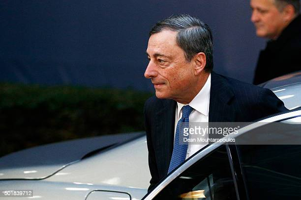 President of the European Central Bank Mario Draghi arrives for The European Council Meeting In Brussels held at the Justus Lipsius Building on...