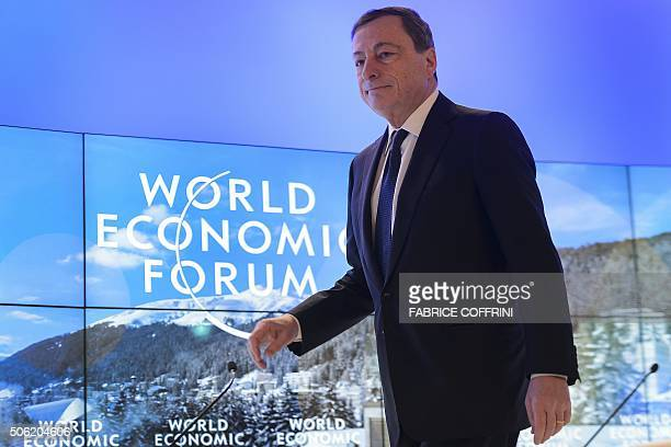 President of the European Central Bank Mario Draghi arrives to a session at the World Economic Forum annual meeting in Davos on January 22 2016 A...
