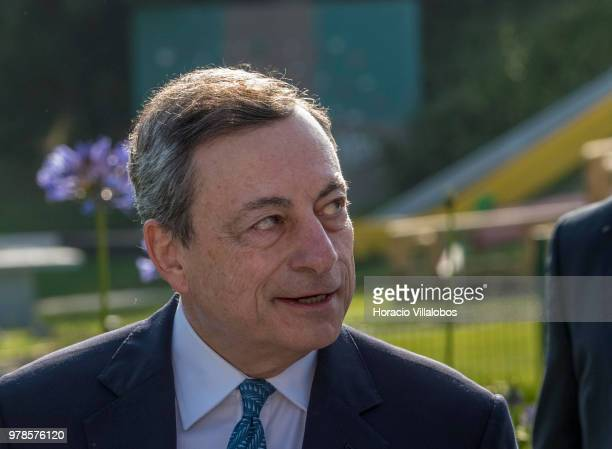 President of the European Central Bank Mario Draghi arrives to participate in the first discussion session of the ECB Forum on Central Banking on...