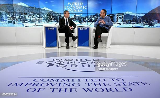 President of the European Central Bank Mario Draghi attends a session at the World Economic Forum annual meeting in Davos on January 22 2016