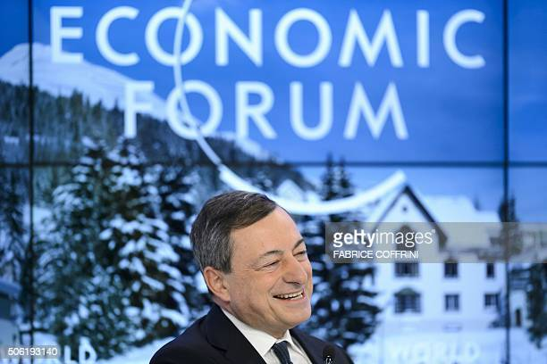 President of the European Central Bank Mario Draghi looks on during a session at the World Economic Forum annual meeting in Davos on January 22 2016...