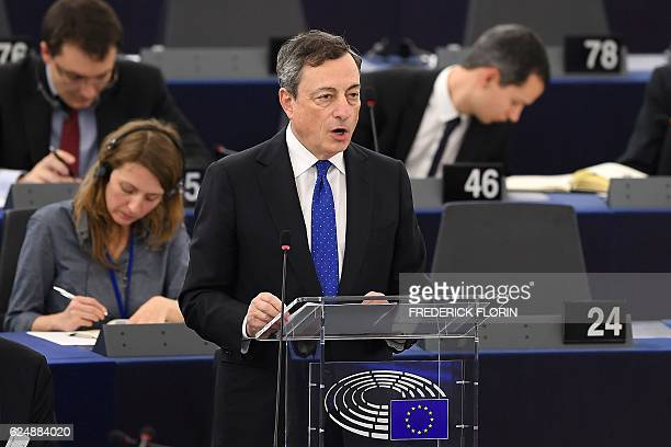 President of the European Central Bank Mario Draghi speaks during a debate on the European Central Bank annual report for 2015 at the European...