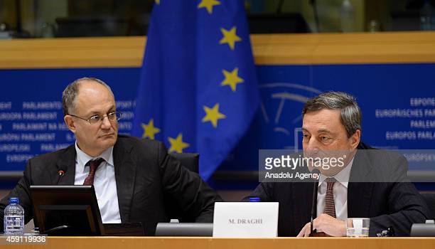 President of the European Central Bank Mario Draghi speaks during the European Parliament Committee on Economic and Monetary Affairs at the EU...