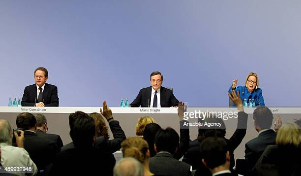 President of the European Central Bank Mario Draghi vice president Vitor Constancio and DirectorGeneral of Communications and Language Services at...