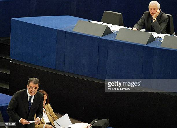 President of the European Commission Italian Romano Prodi appears before European Parliament's budget control committee over Eurostat fraud scandal...