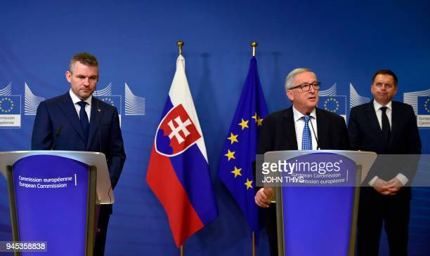 President of the European Commission Jean Claude Juncker gives a joint press with Slovak Prime Minister Peter Pellegrin and Slovakia's Finance...