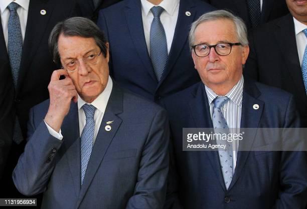 President of the European Commission Jean-Claude Juncker and Greek Cypriot Leader Nikos Anastasiadis attend the EU Leaders Summit in Brussels,...