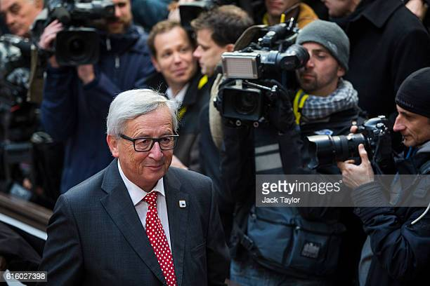 President of the European Commission JeanClaude Juncker arrives at the Council of the European Union on the second day of a two day summit on October...