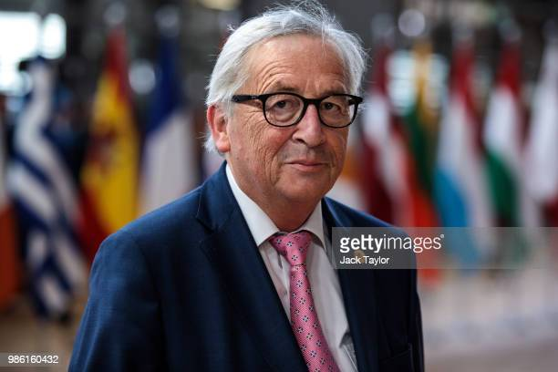 President of the European Commission JeanClaude Juncker arrives at the Council of the European Union on the first day of the European Council...
