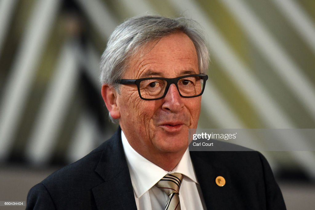 President of the European Commission, Jean-Claude Juncker, arrives on the first day of the Council of the European Union on the first day of an EU summit, on March 9, 2017 in Brussels, Belgium. EU leaders will gather for a two-day summit to discuss a number of issues including Great Britain's exit from the Union.