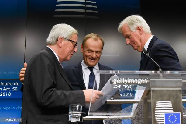 President of the European Commission JeanClaude Juncker EU chief Brexit negotiator Michel Barnier and European Council President Donald Tusk...