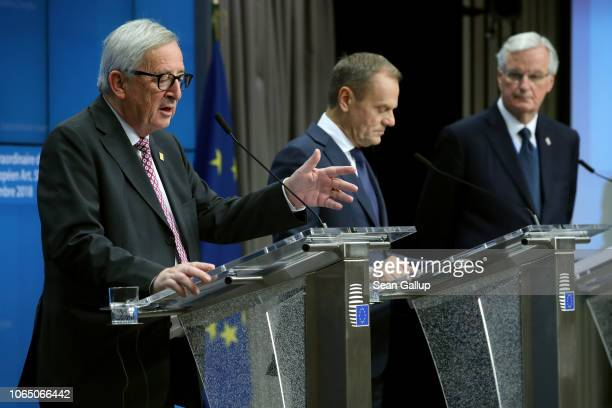 President of the European Commission JeanClaude Juncker European Council President Donald Tusk and European Union chief Brexit negotiator Michel...