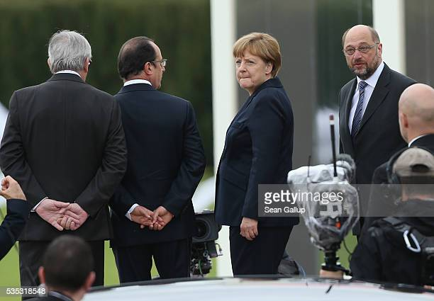 President of the European Commission JeanClaude Juncker French President Francois Hollande German Chancellor Angela Merkel and President of the...