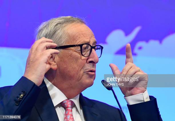 President of the European Commission Jean-Claude Juncker gives a speech during an EU - Asia Connectivity on Partnership on Sustainable Connectivity...