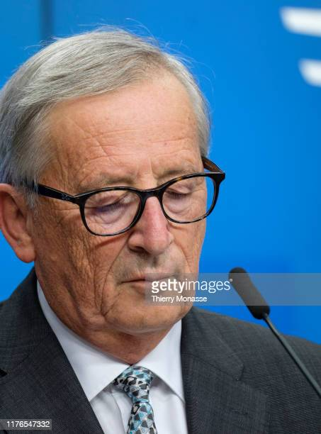 President of the European Commission Jean-Claude Juncker is talking to media at the end of an EU leaders summit on October 18 in Brussels, Belgium....