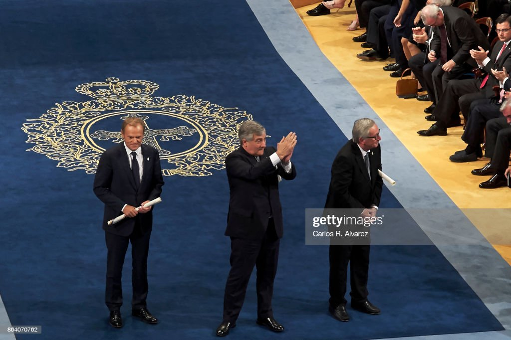 President of the European Commission Jean-Claude Juncker (R), President of the European Parliament Antonio Tajani (C) and President of the European Council Donald Tusk (L) receive the Princesa de Asturias Awards 2017 for the Concord at the Campoamor Theater on October 20, 2017 in Oviedo, Spain.