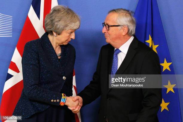 President of the European Commission, Jean-Claude Juncker receives Ms Theresa May, Prime Minister of the United Kingdom in the VIP corner of The...