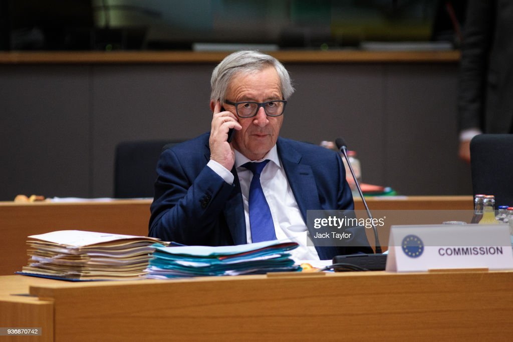 President of the European Commission Jean-Claude Juncker sits at his desk ahead of roundtable discussions in the Europa Building on the final day of the European Council leaders' summit on March 23, 2018 in Brussels, Belgium. European Union leaders meet today for the two-day European Council. The agenda includes discussion on the recent nerve agent attack in Salisbury, which the UK holds the Russian state responsible, and US President Donald Trump's announcement on tariffs for steel and aluminium imports. The proposed Brexit transition deal between the European Union and the United Kingdom is also expected to be approved.