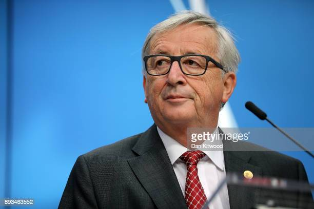 President of the European Commission JeanClaude Juncker speaks during the final press conference at the end of the European Union leaders summit at...