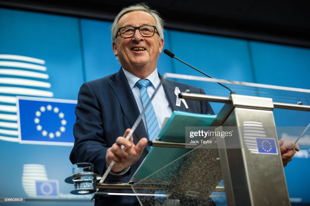 President of the European Commission Jean-Claude Juncker speaks during a press conference after a European Council Meeting at the Council of the European Union on March 22, 2018 in Brussels, Belgium. European Union leaders meet today for the two-day European Council. The agenda will include discussion on the recent nerve agent attack in Salisbury, which the UK holds the Russian state responsible, and US President Donald Trump's announcement on tariffs for steel and aluminium imports. The proposed Brexit transition deal between the European Union and the United Kingdom is also expected to be approved.