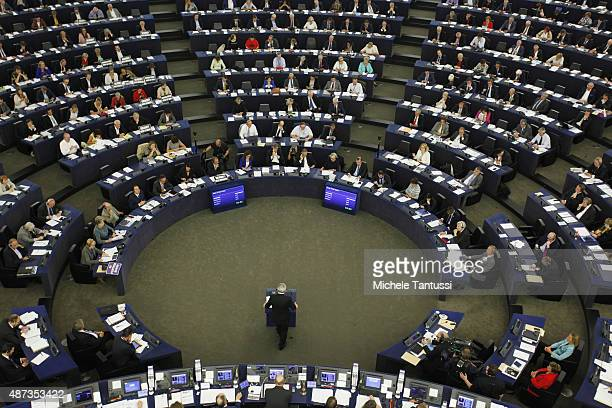 President of the European Commission JeanClaude Juncker speaks in the plenary room of the European Parliament during his speech on the state of the...