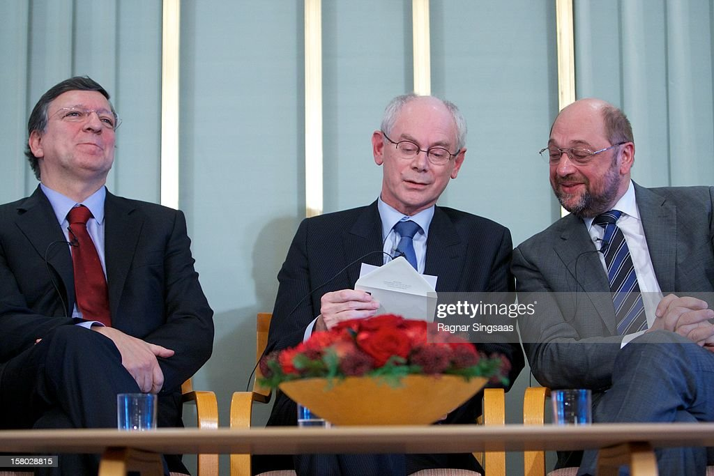 President of the European Commission Jose Barroso, President of the European Union Herman Van Rompuy and President of the European Parliament Martin Schultz talk to the media at the press conference ahead of the Nobel Peace Prize on December 9, 2012 in Oslo, Norway.