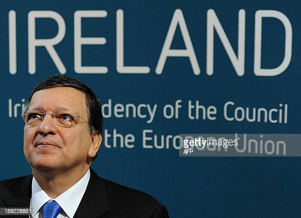 President of the European Commission Jose Manuel Barroso arrives for the meeting between the Irish Government and Members of the College of...