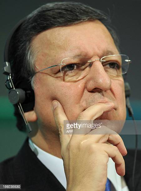 President of the European Commission Jose Manuel Barroso listens during a press conference following a meeting between the Irish Government and...