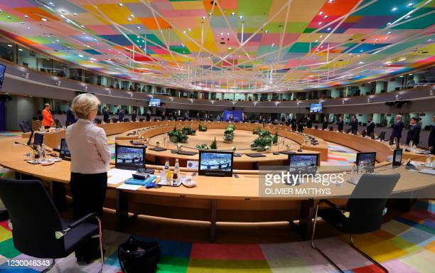 President of the European Commission Ursula von der Leyen and EU leaders observe a minute silent in tribute to late French President Valery Giscard...