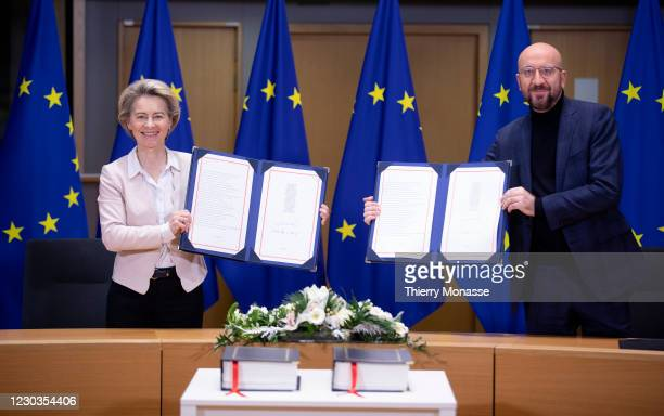 President of the European Commission Ursula von der Leyen and the President of the European Council Charles Michel attend a Brexit signature ceremony...