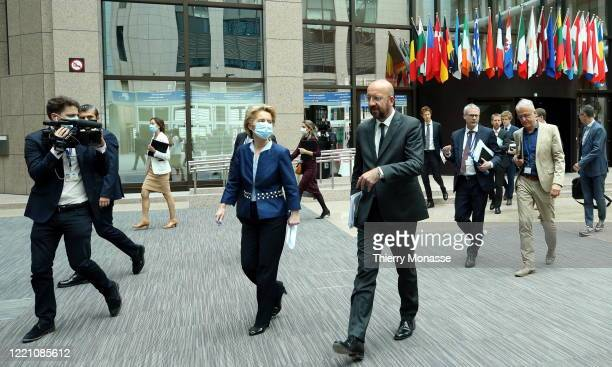 President of the European Commission Ursula von der Leyen and the European Council President Charles Michel hold a joint press conference after...
