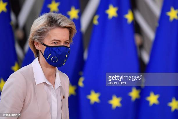 President of the European Commission Ursula von der Leyen arrives at the EU headquarters' Europa building in Brussels on December 10 prior to a...