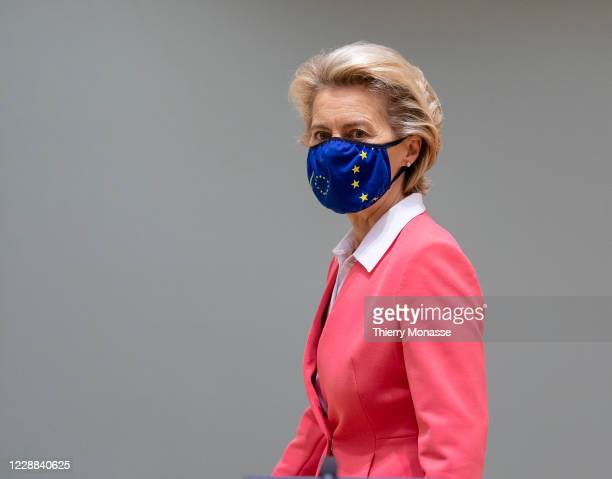 President of the European Commission Ursula von der Leyen arrives for the second day of an EU Chief of State Summit in the Justus Lipsius building,...